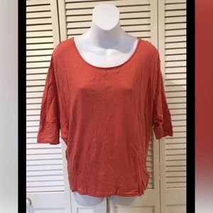 Express Coral Short Sleeve Casual Top